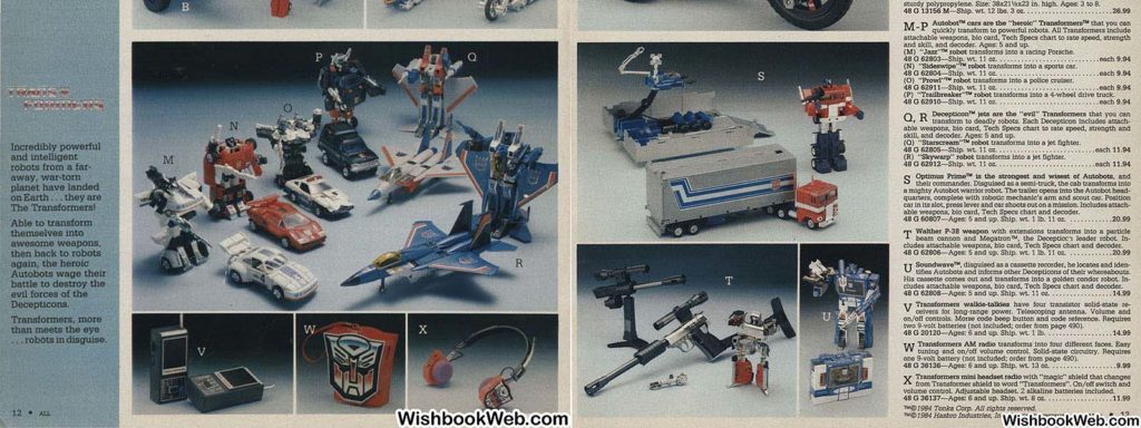 1984 Wards G1 Transformers toy selection pages 12 and 13