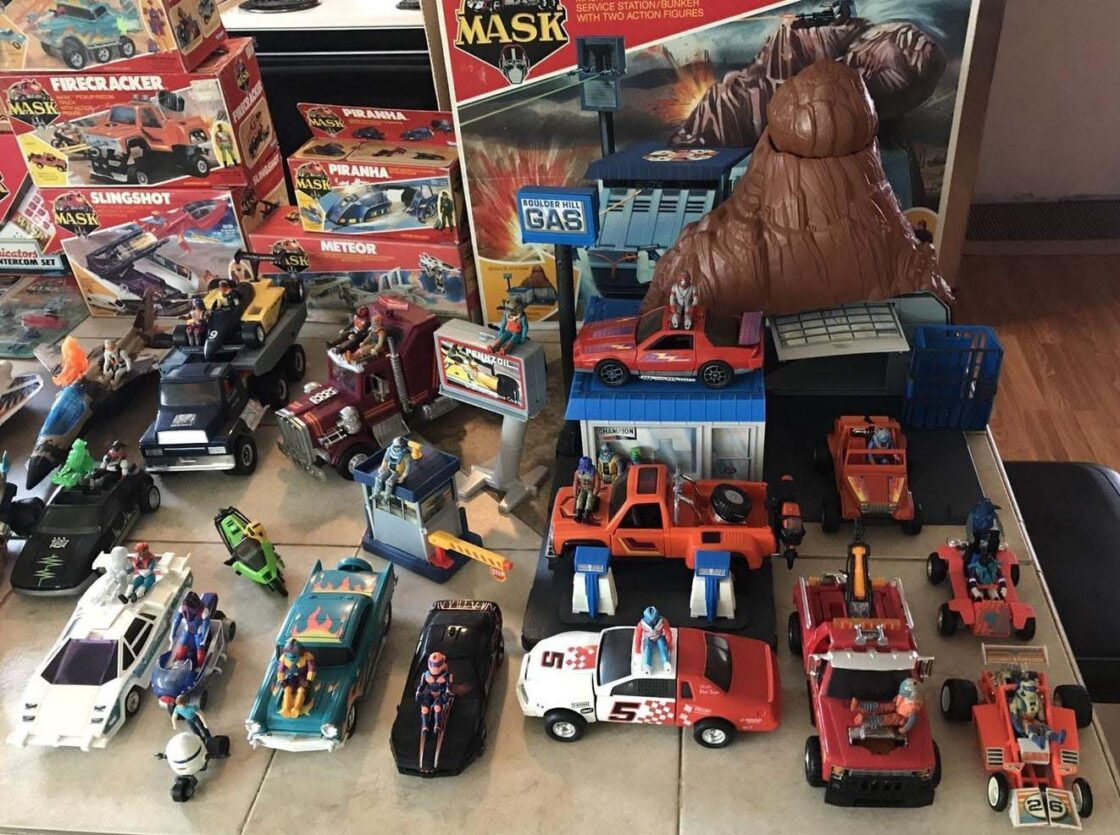Used and old Kenner M.A.S.K. toy collection.