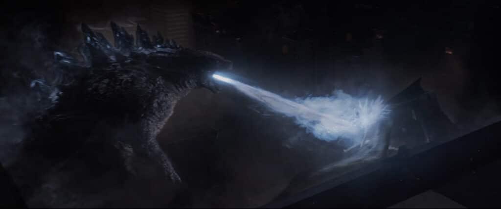 Godzilla attacks the male MUTO in Godzilla (2014)