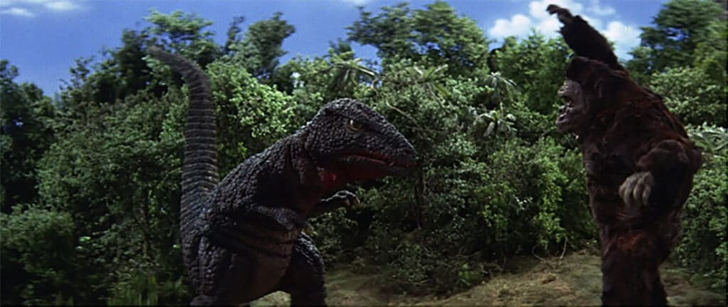 King Kong faces off against Gorosaurus in King Kong Escapes (1967)