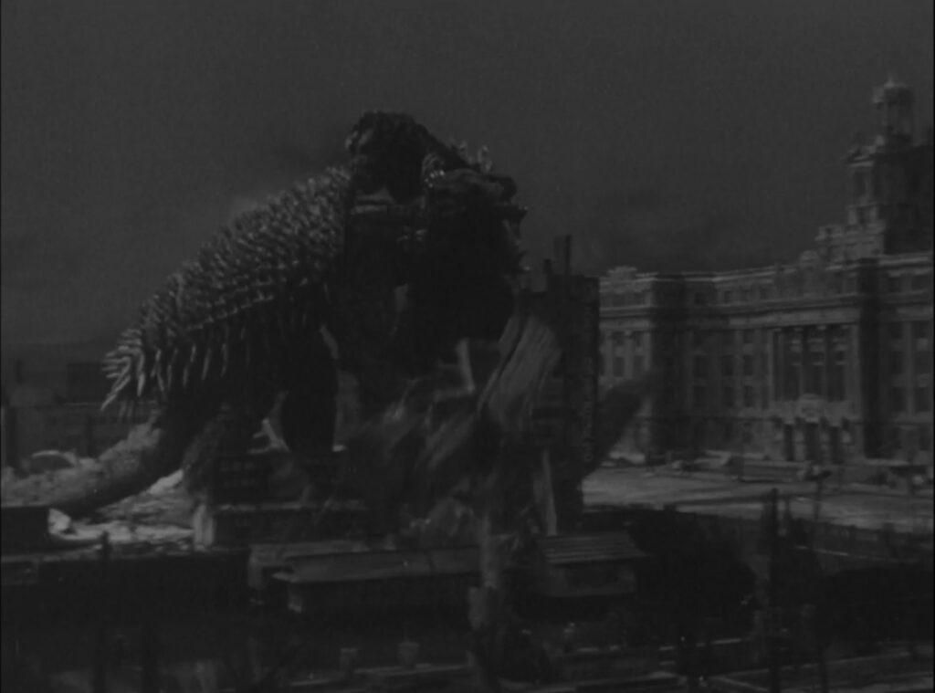 Anguirus attacks Godzilla in Godzilla Raids Again (1955)