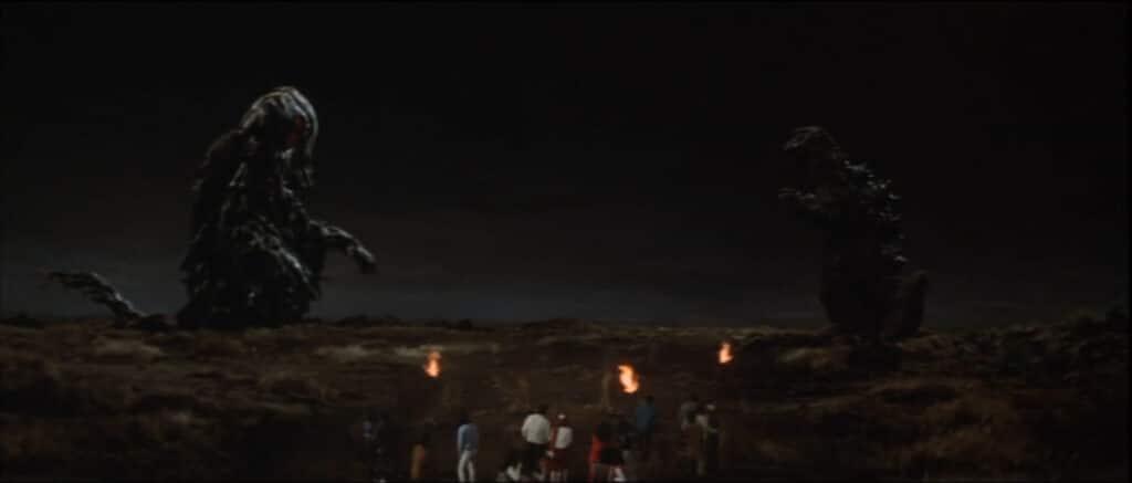 Hedorah and Godzilla face off in Godzilla vs. Hedorah (1971)