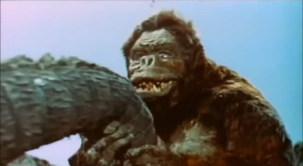 King Kong grabbs Godzilla's tail in King Kong vs. Godzilla (1962)