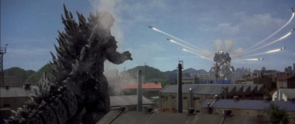 Kiryu (Mechagodzilla III) attacks Godzilla in Godzilla Against Mechagodzilla (2002)