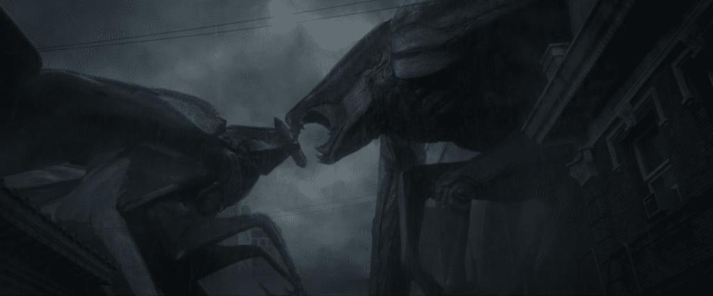 The MUTO pair meet up in Godzilla (2014)