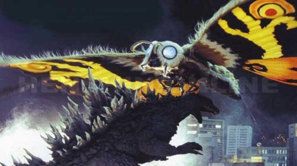 Mothra attacks Godzilla in Godzilla: Tokyo S.O.S. (2003)