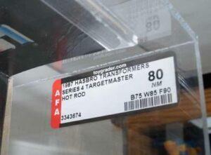 AFA sticker for Hasbro Transformers Hot Rod